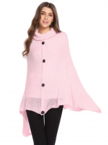 Rosa Mulheres Casual Couro pescoço sólido Pullover Warm Sweater Travel Wrap Poncho