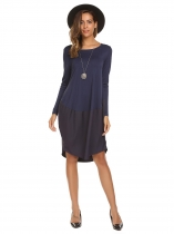 Femmes Casual Long Sleeve Patchwork O Neck Round Hem Loose Dress