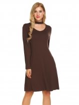 Coffee Women Summer Long Sleeve Solid V Neck Tunic Flared Dress