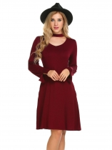 Wine red Women Summer Long Sleeve Solid V Neck Tunic Flared Dress