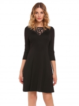 Black Lace Patchwork Neck Slim Dress