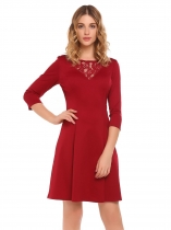 Wine red Vin rouge Rouge Femmes 3/4 Sleeve Lace Patchwork Cocktail O Robe tunique à col