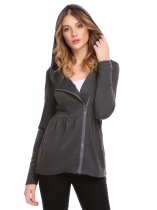 Dark Grey Women Long Sleeve Hooded Full Zip Solid Casual Hoodie Jacket Coat with Pocket