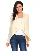 Apricot Long Sleeve Asymmetrical Solid Ruched Open Front Jackets