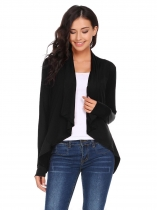 Black Long Sleeve Asymmetrical Solid Ruched Open Front Jackets
