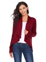 Wine red Long Sleeve Asymmetrical Solid Ruched Open Front Jackets