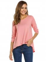 Light pink O-Neck Long Sleeve Solid Dip Hem Tops
