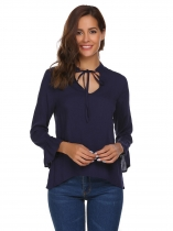 Bleu marine Bleu marine Femmes Casual Long Sleeve Ruffles Tie-Neck Solid Loose T-Shirt Top