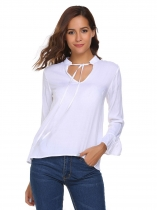 White Solid Ruffles Long Sleeve Drawstring Neck Loose Tops
