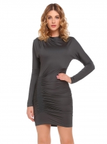 Dark gray Bat-wing Sleeve Cowl Neck Ruched Pencil Dress