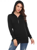 Black Women Casual Solid Long Sleeve Pullover zip up Hoodie