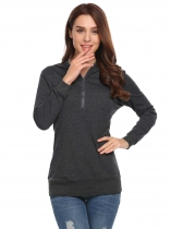 Dark gray Women Casual Solid Long Sleeve Pullover zip up Hoodie