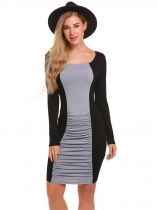Black Long Sleeve Contrast Color Ruched Pencil Dress