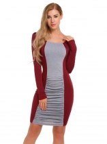 Wine red Long Sleeve Contrast Color Ruched Pencil Dress