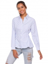 Blue Striped Turn Down Collar Long Sleeve Button Shirt