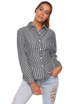Black Striped Turn Down Collar Long Sleeve Button Shirt
