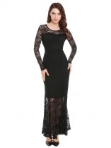 Black Women Long Sleeve Empire Waist Floral Lace Evening Party Bridesmaid Dress