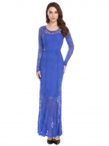 Blue Women Long Sleeve Empire Waist Floral Lace Evening Party Bridesmaid Dress