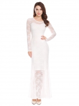 White Women Long Sleeve Empire Waist Floral Lace Evening Party Bridesmaid Dress