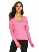 Rose Pink Women V-Neck Backless Long Sleeve Solid Casual T-Shirt Top