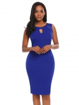 Royal Blue Femmes Mode O Neck Sans manches Mesh Patchwork Keyhole Bodycon Slim Pencil Dress