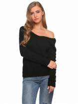 Black V-Neck Long Sleeve Twist Knot Solid Sweater