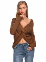 Brown V-Neck Long Sleeve Twist Knot Solid Sweater