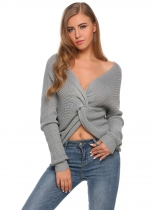 Cinza-claro Mulheres Casual V-Neck Long Sleeve Twist Knot Solid Warm Sweater
