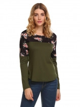 Army green Floral Print Patchwork Long Sleeve V Neck Tops