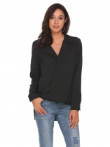 Black Long Sleeve High Low Hem Casual Shirt