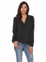 a5c84ce37f 26% Black Long Sleeve High Low Hem Casual Shirt