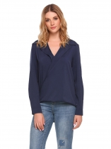 Navy blue Long Sleeve High Low Hem Casual Shirt