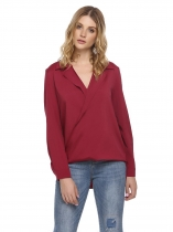Wine red Long Sleeve High Low Hem Casual Shirt