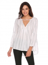 White Long Sleeve Loose Striped Blouse Tops