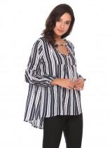 Navy blue Long Sleeve Loose Striped Blouse Tops