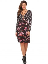 Black 1 Women Fashion Cross V-Neck Long Sleeve Floral High Waist Loose Dress