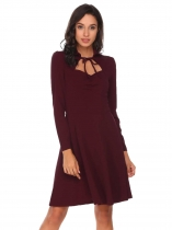 Wine red Long Sleeve Solid High Waist A-Line Dress