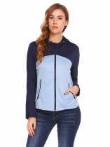 Navy blue Women Soft Shell Hooded Patchwork Zip Up Casual Jackets