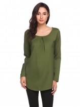 Army green Womens Casual Long Sleeve Ruched O-Neck Tunic Chiffon Shirt Top Blouse