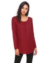 Wine red Womens Casual Long Sleeve Ruched O-Neck Tunic Chiffon Shirt Top Blouse