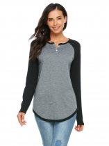 Gray Black Contrast Color Patchwork Raglan Sleeve Tops