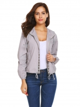 light grey Women Outdoor Light Weight Long Sleeve Patchwork Hooded Windbreaker Jackets
