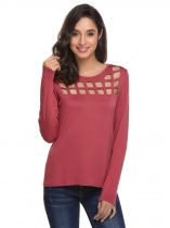Wine red Women Fashion O-Neck Long Sleeve Solid Hollow Out T-Shirt