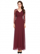 Wine red Women V-Neck Long Sleeve Pleated Lace Patchwork Chiffon Evening Party Maxi Dress