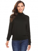 Black Women High Neck Long Sleeve T-Shirt