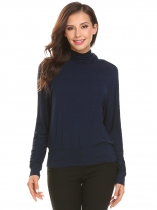 Navy blue Women High Neck Long Sleeve T-Shirt
