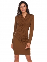 Dark brown Mujeres Moda V cuello de manga larga sólido Ruched Bodycon Slim Pencil Dress