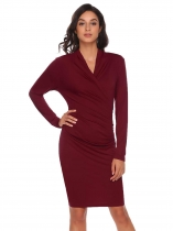 Rojo de vino Mujeres Moda V cuello manga larga sólido Ruched Bodycon Slim Pencil Dress