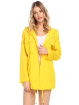 Yellow Women Casual Hooded Long Sleeve Zipper Lightweight Waterproof Jacket