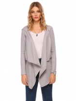 Silver Long Sleeve Solid Open Front Knit Cardigan